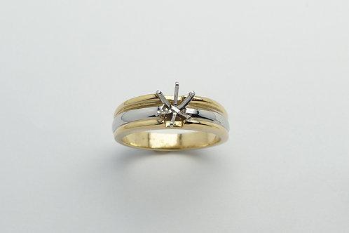 Platinum and 18 karat yellow gold semi mount engagement ring