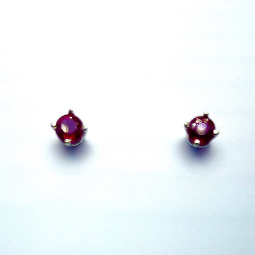 14 Karat White Gold Ruby Earstuds