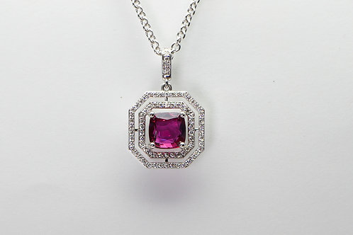 18 karat white gold ruby and diamond pendant