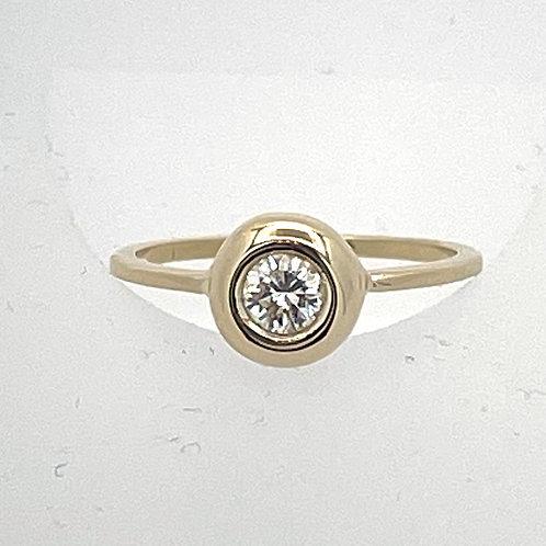 14K Yellow Gold Bezel Set Diamond Ring