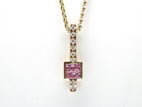 18 karat yellow gold pink sapphire and diamond pendant