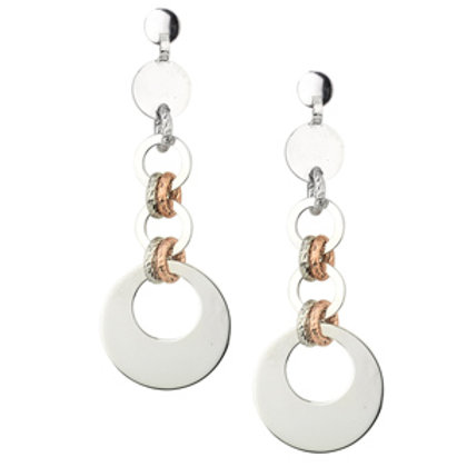 Sterling silver and rose gold overlay dangle earrings