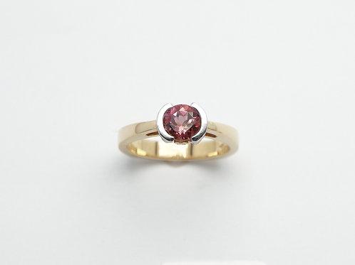 18 karat yellow gold and platinum diamond and pink tourmaline ring