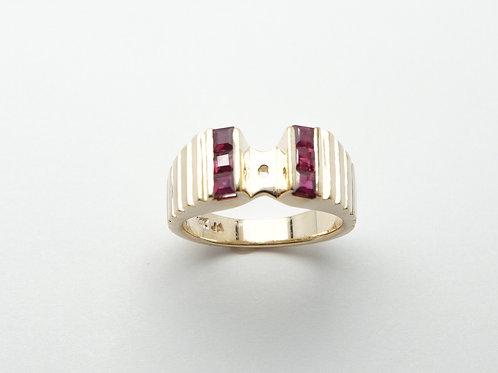 14 karat yellow gold ruby semi mount ring