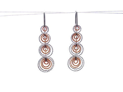 Sterling silver and rose gold overlay earrings