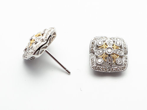 14 karat yellow gold and white gold diamond earrings