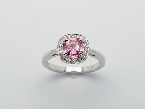 14 karat white gold pink sapphire and diamond ring