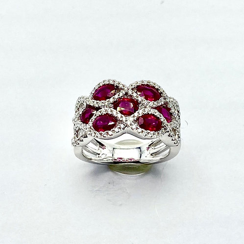 18 Karat White Gold Ruby & Diamond Ring