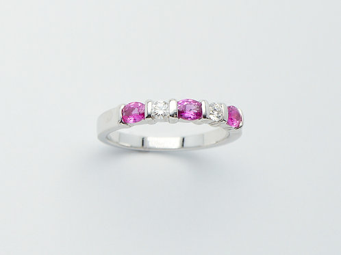 18 karat white gold pink sapphire and diamond band