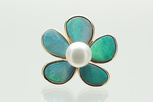 14 karat yellow gold opal and pearl brooch