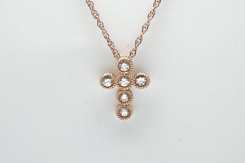 14 karat rose gold diamond cross pendant