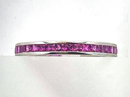 18K White Gold Eternity Princess Cut Pink Sapphire  Band