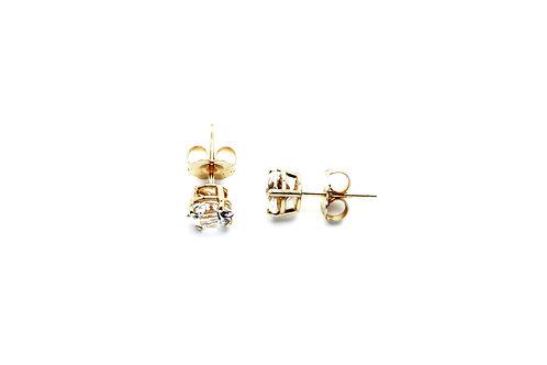 14 karat yellow gold white topaz earrings