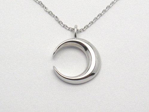 14 karat white gold crescent moon necklace