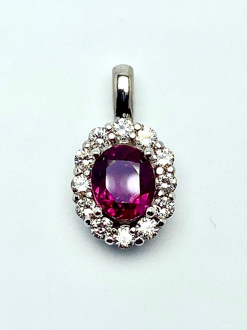 14 Karat White Gold Ruby & Diamond Pendant