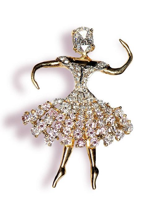14 karat yellow gold diamond ballerina pin