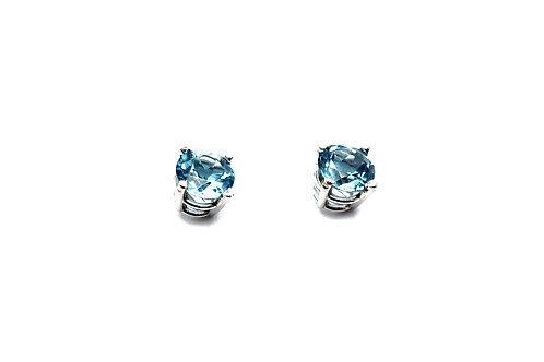 14 karat white gold blue topaz earrings