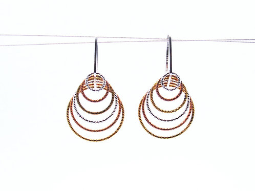 Sterling silver with rose and yellow gold plated earrings