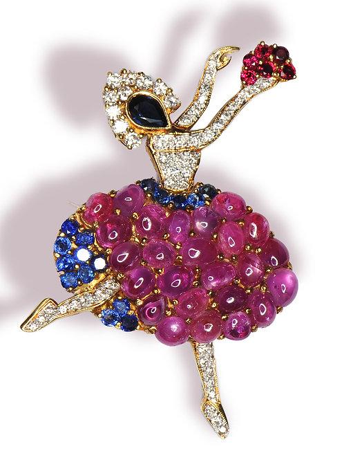 18 karat yellow gold ruby, sapphire and diamond ballerina pin