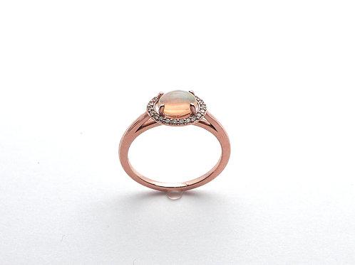 14 karat rose gold opal and diamond ring