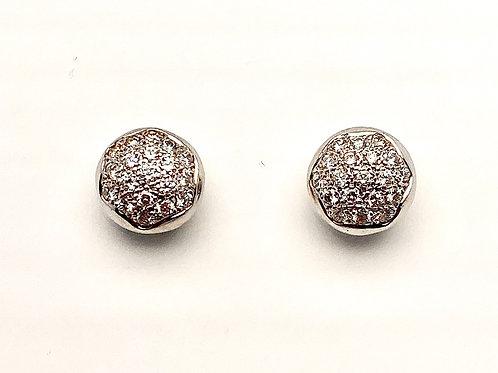 14 and 18 Karat White Gold Diamond Earrings