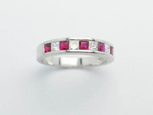 Platinum ruby and diamond band