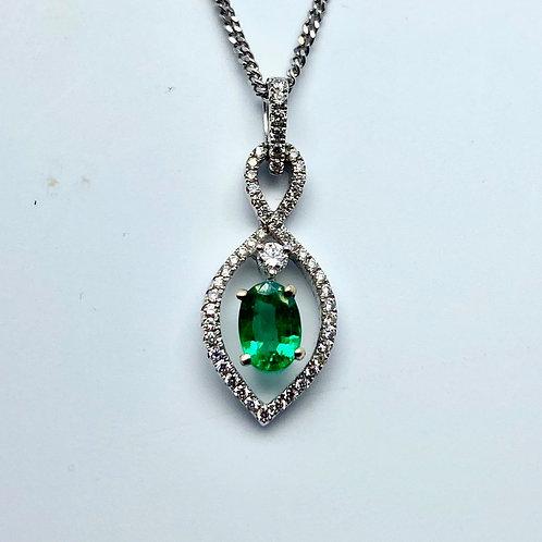 18 Karat White Gold Emerald and Diamond Pendnat