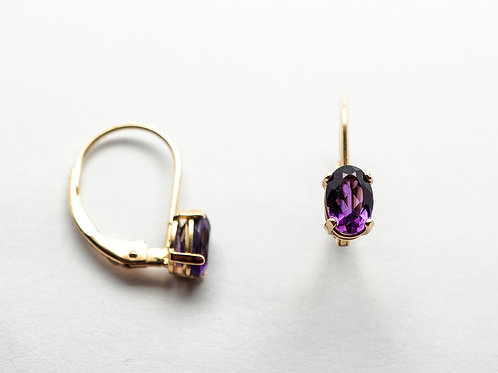 14 karat yellow gold amethyst earrings