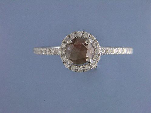 18 karat white gold rough diamond ring