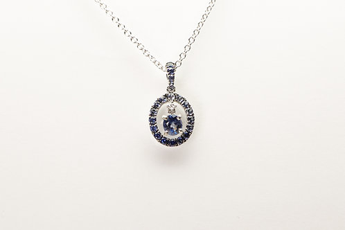 18 white gold sapphire and diamond pendant