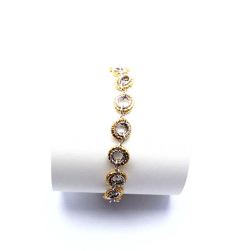 Sterling silver and yellow gold overlay bracelet