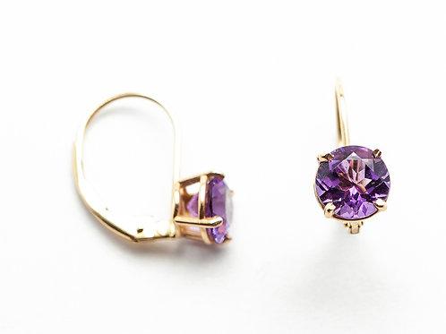 14 karat yellow gold amethyst earrings