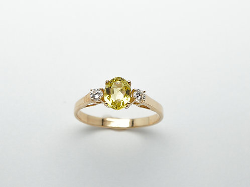 14 karat yellow gold chrysoberyl and diamond ring