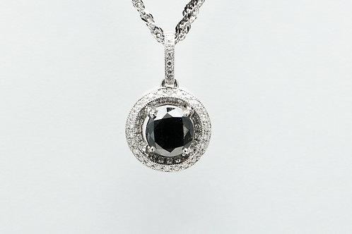 18 karat white gold black diamond and white diamond pendant