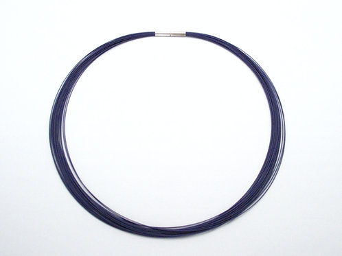 Purple 24 strand Neck Collar with Silver Clasp