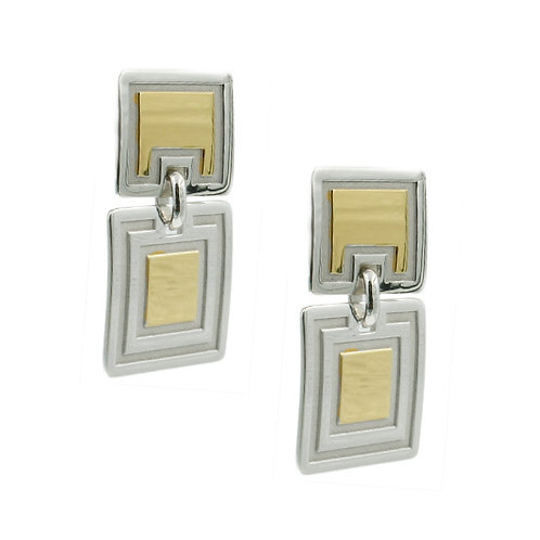 Sterling silver and yellow gold plated earrings