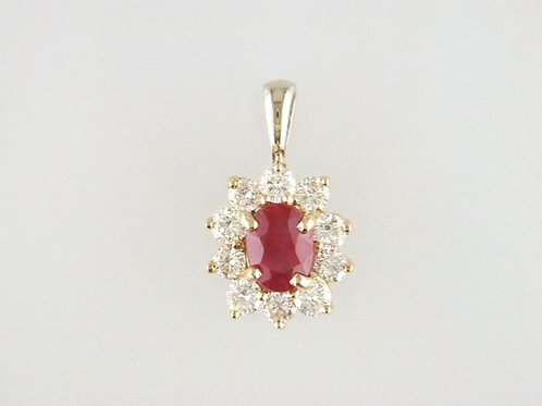 18K Two Toned Ruby and Diamond Pendant