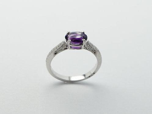 14 karat white gold amethyst and diamond ring