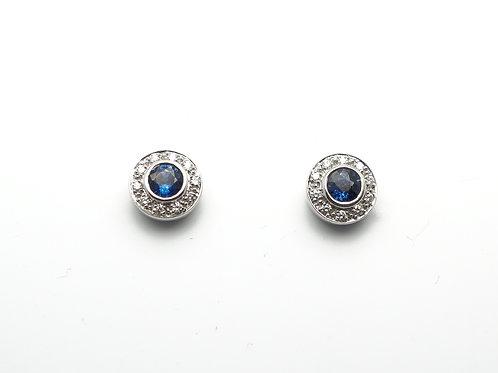 18 karat white gold sapphire and diamond earrings