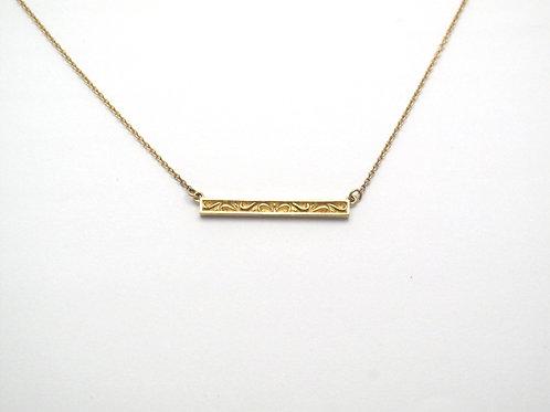 14 karat yellow gold scroll bar necklace