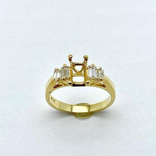 18 Karat Yellow Gold Semi-Mount Ring