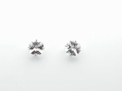 14 karat white gold white topaz earrings