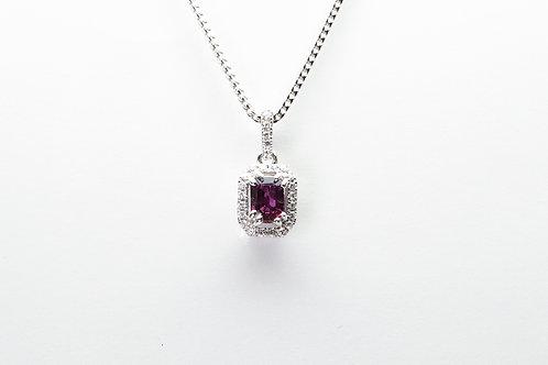 14 karat white gold ruby and diamond pendant