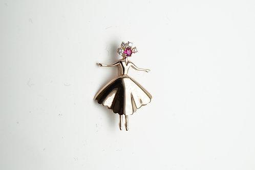 14 karat rose gold ruby and diamond pin