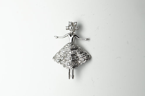 14 karat white gold diamond pin