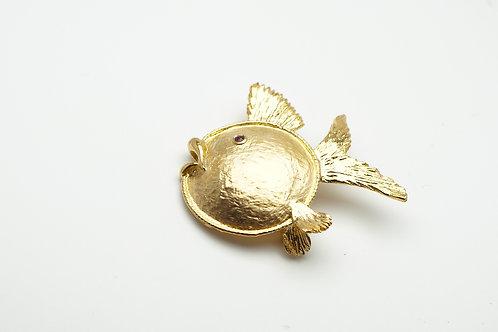 14 karat yellow gold ruby pin