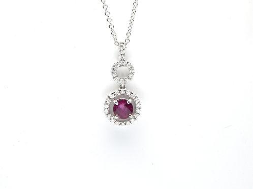 18 karat white gold ruby and diamond pendant