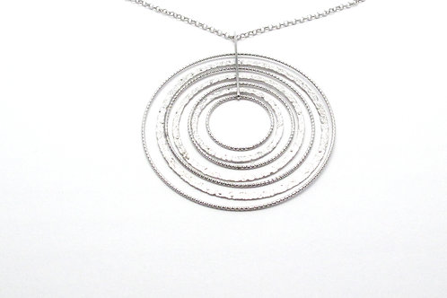 Sterling Silver Textured Circle Necklace