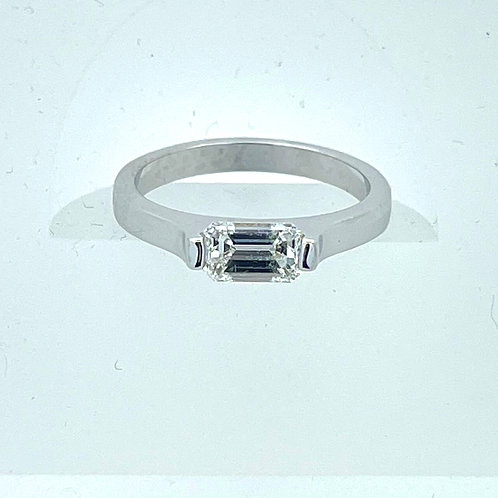 14K White Gold Emerald Cut Ring