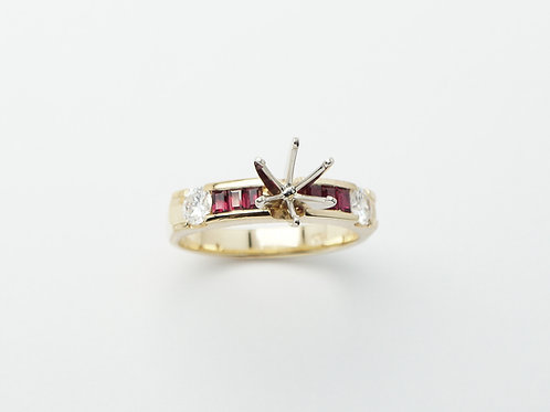 18 karat yellow gold and white gold semi mount ruby and diamond engagement ring